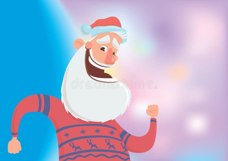 Santa Claus de sorriso feliz na dança da camiseta dos veados vermelhos no fundo branco Feliz Natal e ano novo feliz Vetor ilustração stock