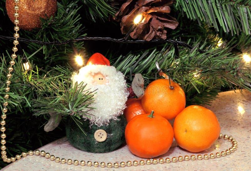 Santa Claus-de tribunes onder de boom, naast hem zijn oranje, kleine mandarijnen royalty-vrije stock afbeelding