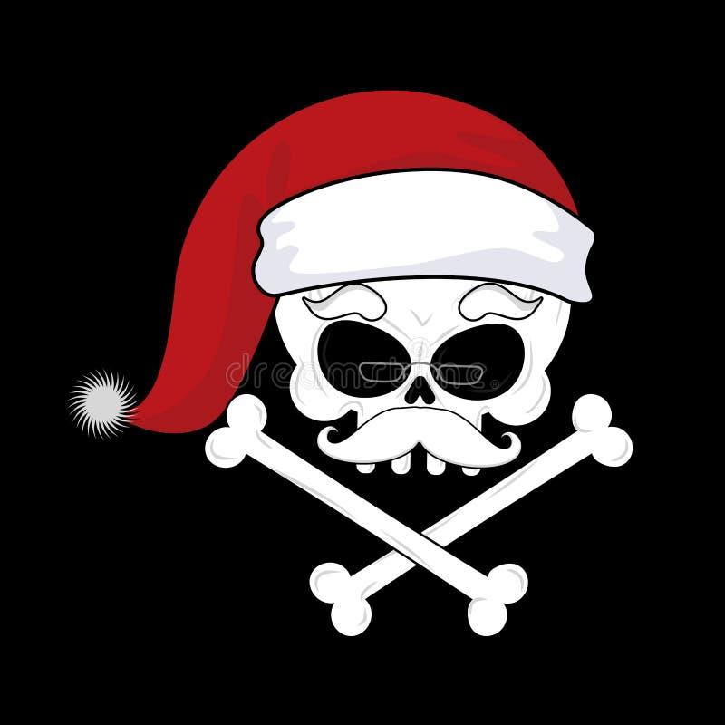 Santa Claus Death Cráneo de la Navidad cabeza esquelética en santa rojo h ilustración del vector
