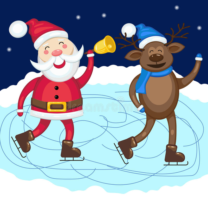 Santa Claus with deer skate at the rink stock illustration