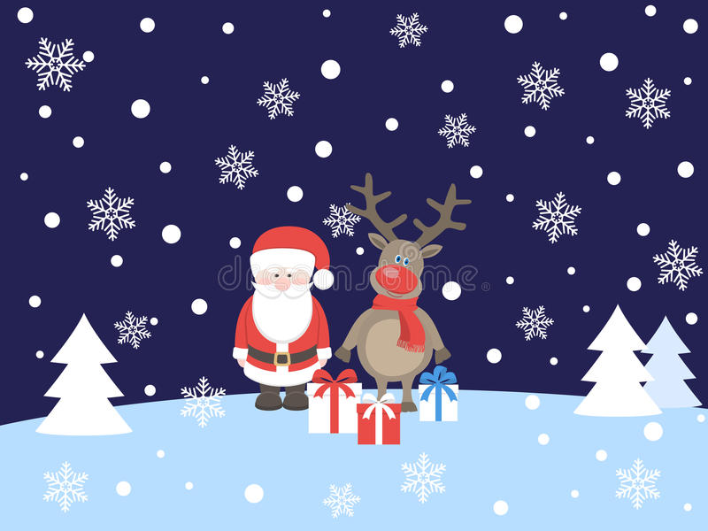 Santa claus with deer royalty free illustration