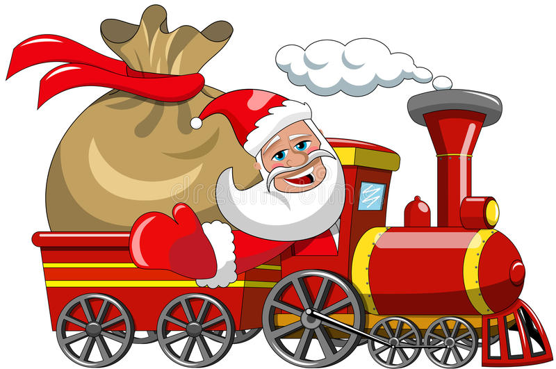 Santa Claus Delivering Big Sack door stoomtrein royalty-vrije illustratie