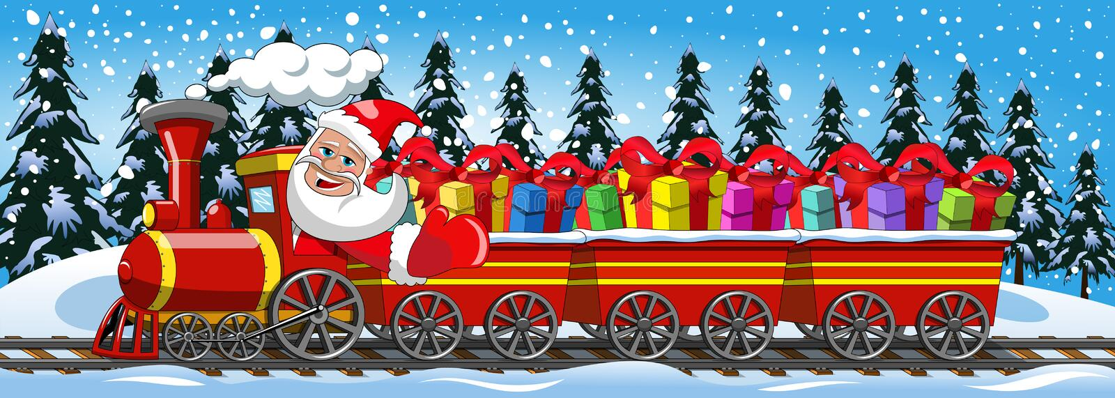 Santa Claus Delivering gifts driving steam locomotive snow. Cartoon Santa Claus Delivering gifts driving steam locomotive with three wagons in the snow stock illustration
