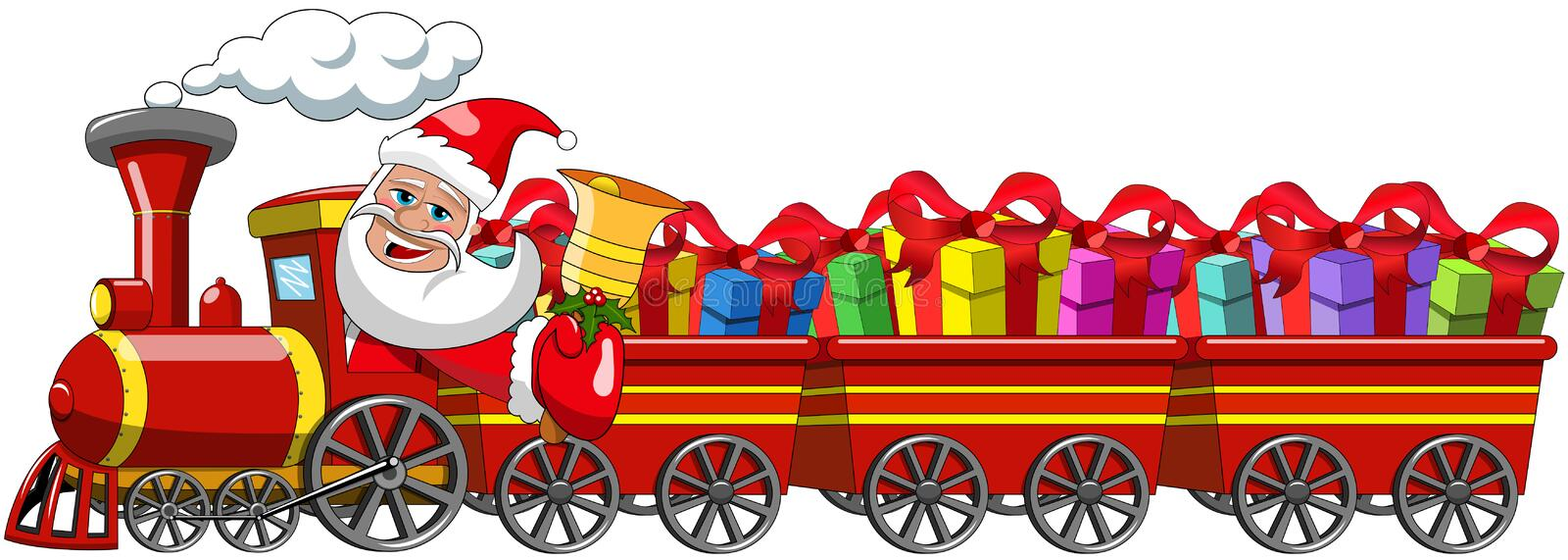 Santa Claus Delivering gifts driving steam locomotive wagons royalty free illustration