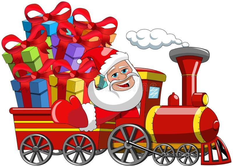 Santa Claus Delivering gifts steam train. Cartoon Santa Claus Delivering gifts by steam train stock illustration