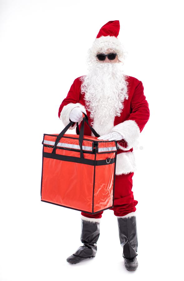 Santa Claus  delivery christmas gifts  isolated on white stock photo