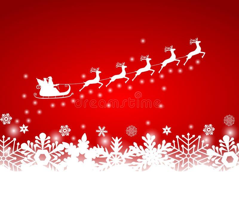 Santa Claus in den Schlittenfahrten lizenzfreie abbildung