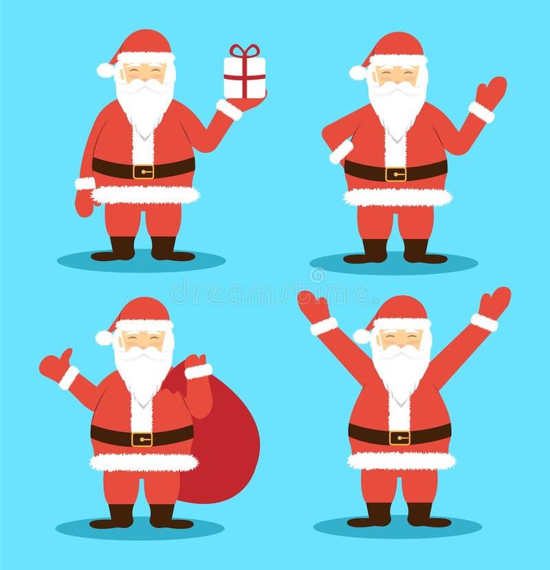 Santa Claus in den verschiedenen Haltungen Frohe Weihnachten und guten Rutsch ins Neue Jahr Flache Art stock abbildung