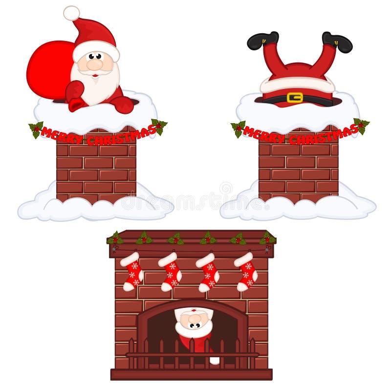Santa Claus dentro da chaminé e da chaminé ilustração do vetor