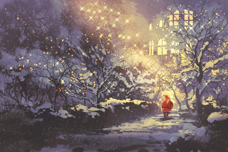 Santa Claus in der Gasse des verschneiten Winters im Park mit Weihnachtslichtern auf Bäumen stock abbildung