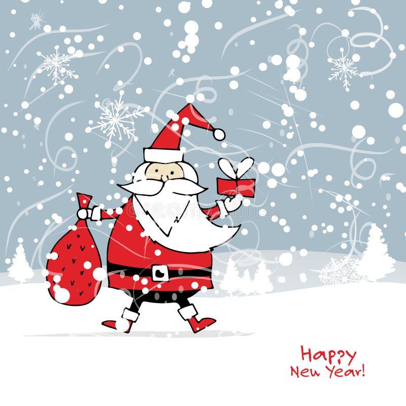 Santa Claus in der Winterwaldweihnachtskarte stock abbildung