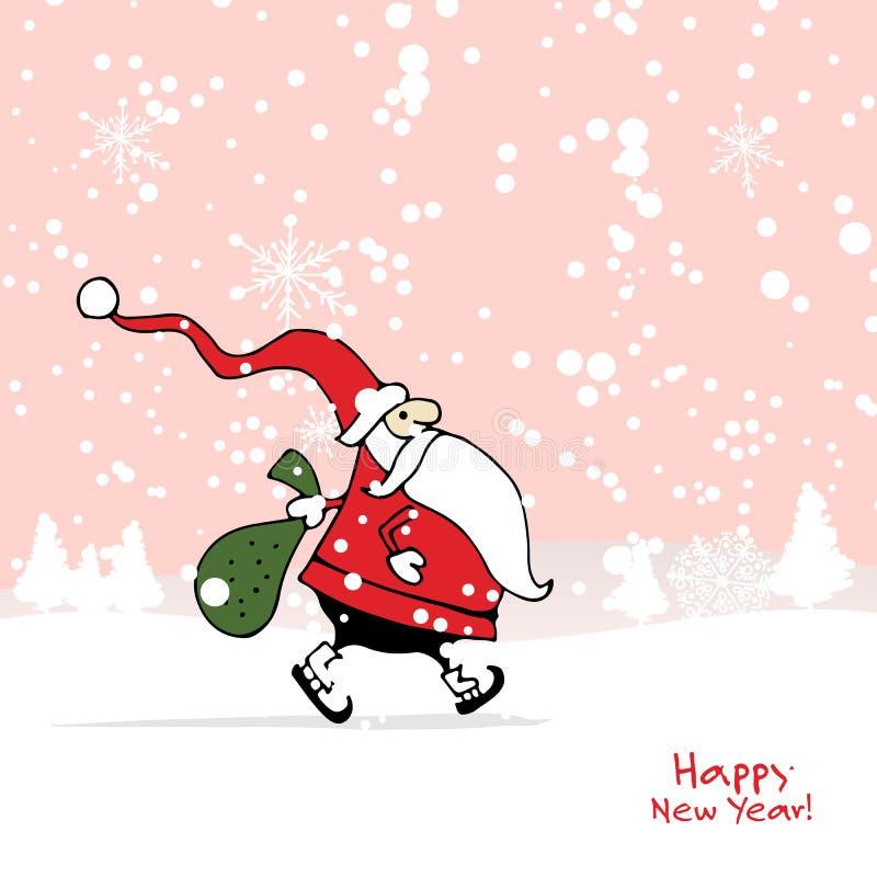 Santa Claus in der Winterwaldweihnachtskarte lizenzfreie abbildung