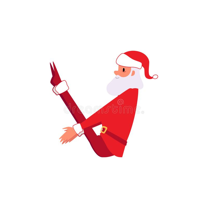 Santa Claus in der Yogaübungshaltung - Weihnachtszeichentrickfilm-figur in Winter Weihnachtsfesttagskleidung, die Kern asana tut vektor abbildung