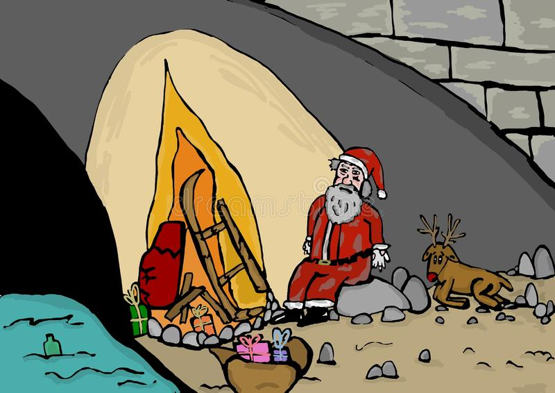 Santa Claus desempleada stock de ilustración