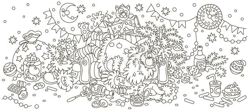 Santa Claus después del banquete del Año Nuevo stock de ilustración