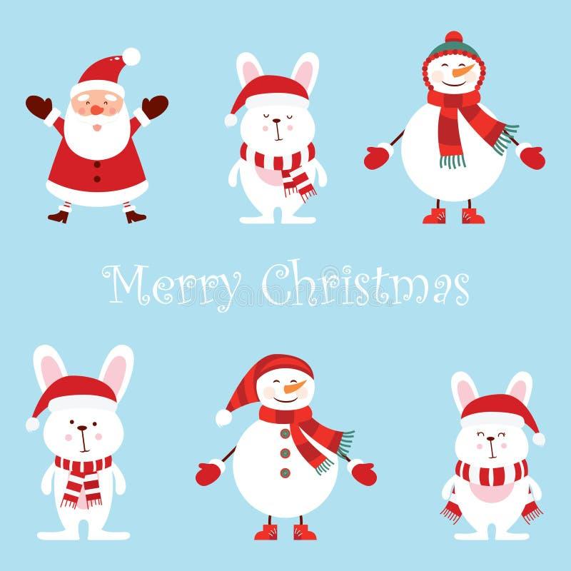 Santa Claus, deux bonhommes de neige drôles, trois lièvres, ensemble réglé de vecteur de bande dessinée, style mignon d'isolement illustration libre de droits