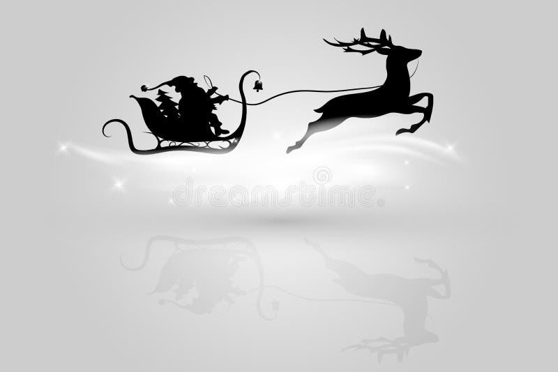 Santa Claus die in een ar met rendier vliegen royalty-vrije illustratie