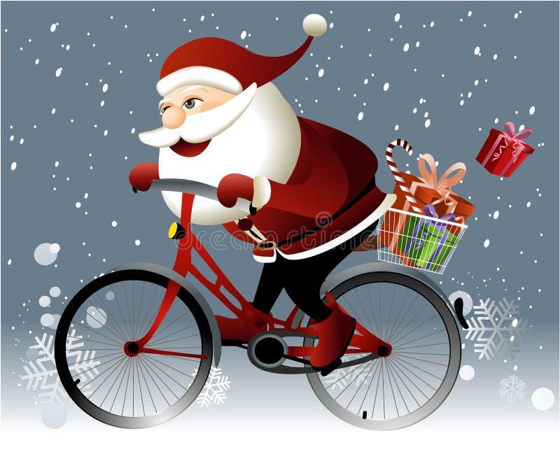 Santa Claus die een fiets berijden vector illustratie