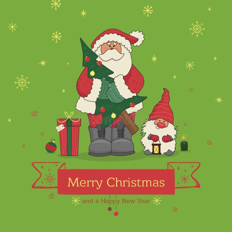 Santa Claus die een Kerstboom en naast de kleine gnoom, illustratie houden voor Kerstmis royalty-vrije illustratie