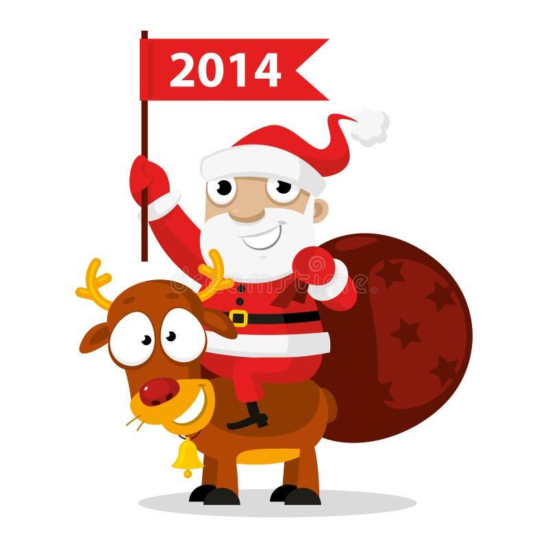 Santa Claus die een rendier berijden stock illustratie