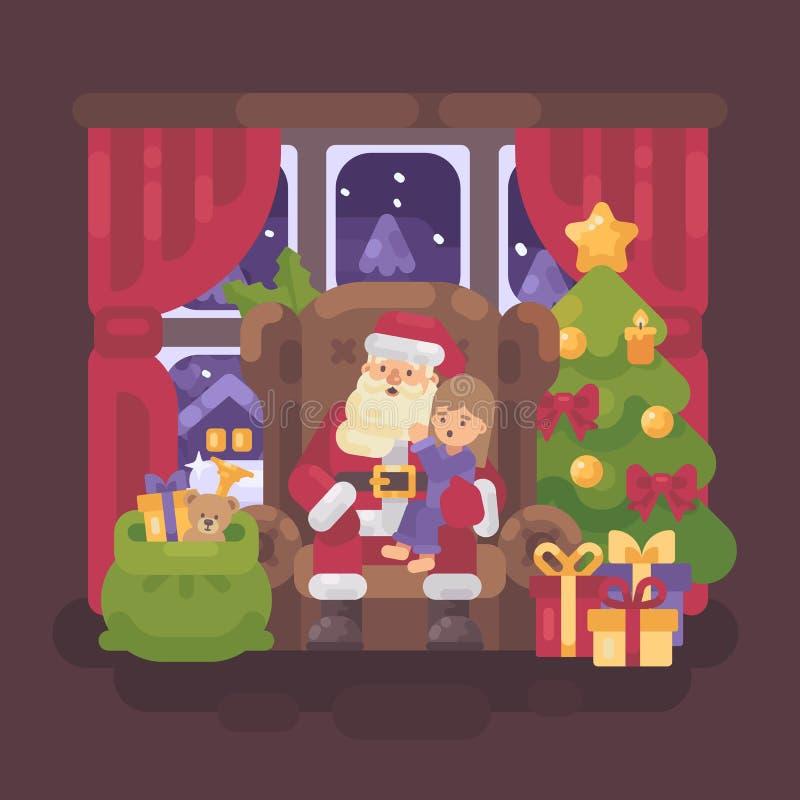 Santa Claus, die in einem Stuhl in einem gemütlichen Raum mit einem kleinen Mädchen sitzt vektor abbildung