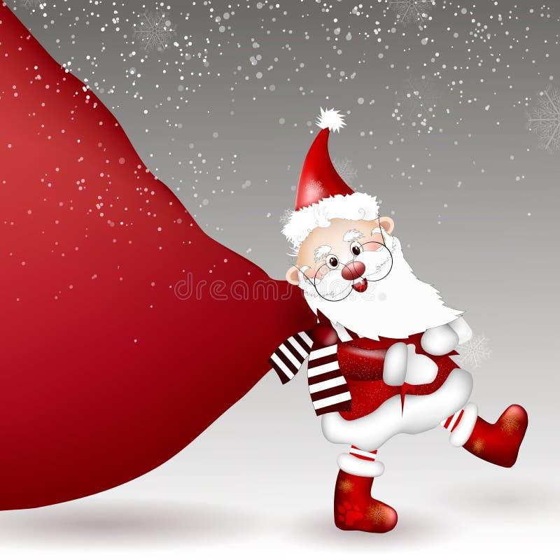Santa Claus, die enorme Tasche von Geschenken zieht stock abbildung