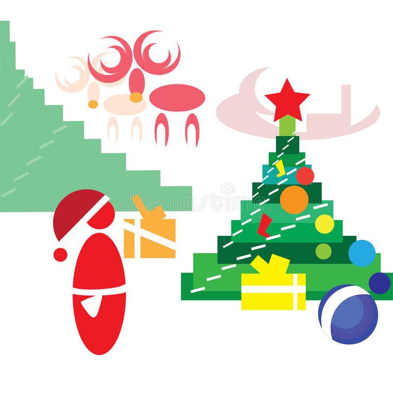 Santa Claus, die Geschenke unter den Weihnachtsbaum setzt lizenzfreie abbildung