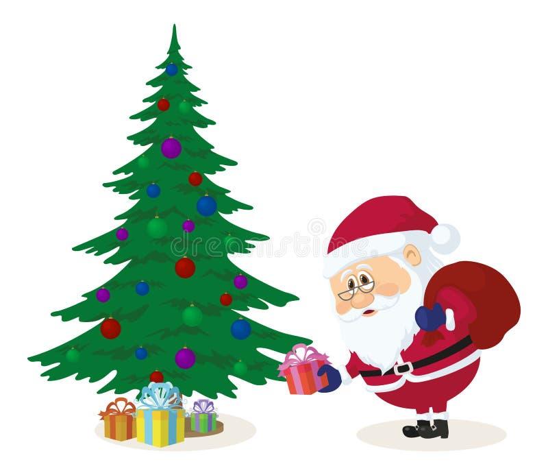 Santa Claus, die Geschenke unter Tannenbaum setzt vektor abbildung