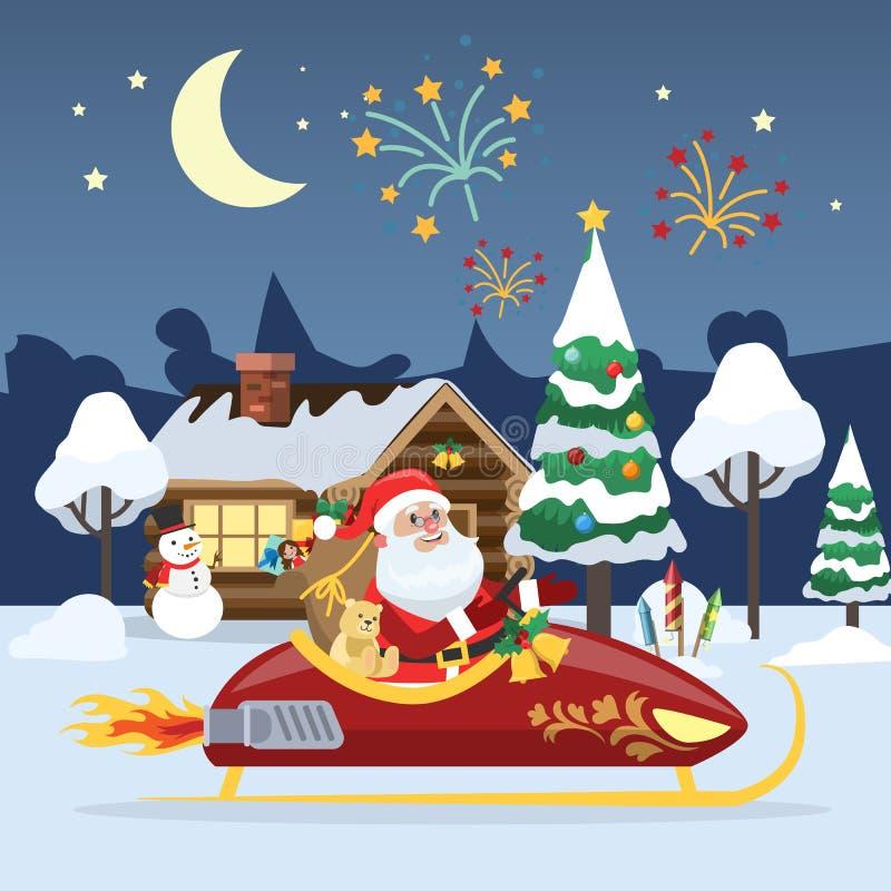 Santa Claus die in het de winterbos vliegen stock illustratie