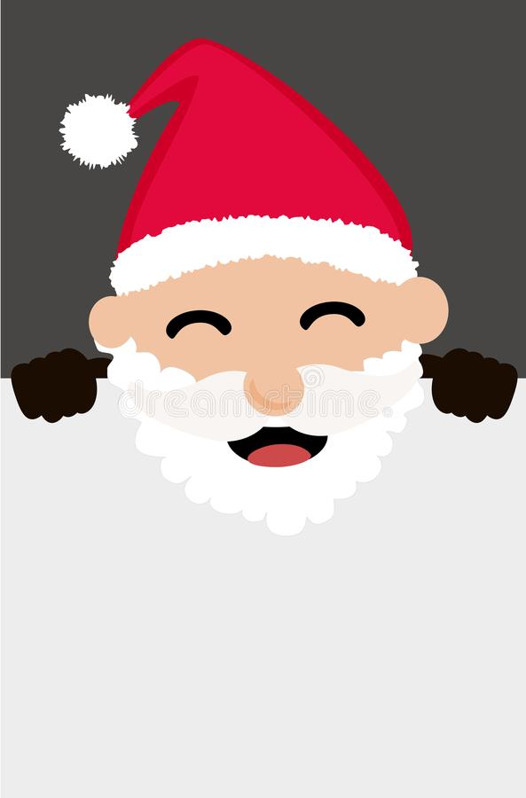 Santa Claus, die hinter leerer Fahne sich versteckt lizenzfreie abbildung