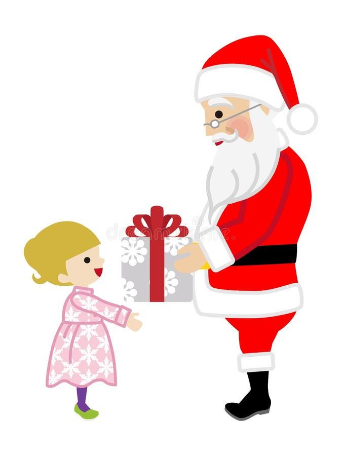 Santa Claus, die Kleinkind-Mädchen ein Weihnachtsgeschenk gibt lizenzfreie abbildung