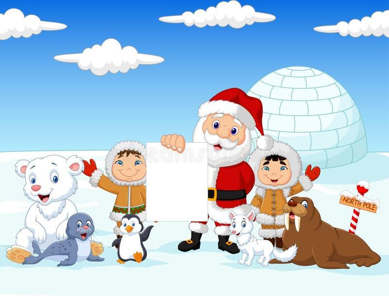 Santa Claus, die leeres Zeichen mit Freunden hält vektor abbildung
