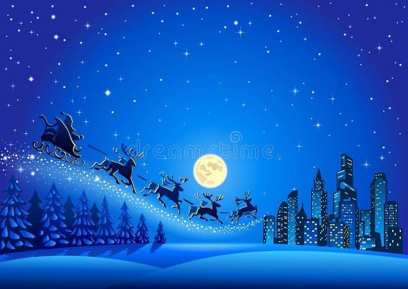 Santa Claus die in lucht vliegen royalty-vrije illustratie