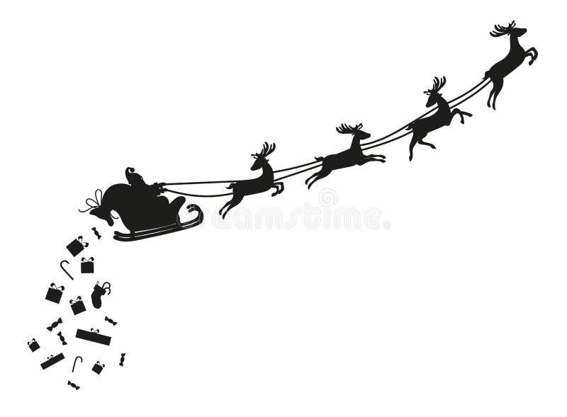 Santa Claus die met herten vliegen Silhouet royalty-vrije illustratie