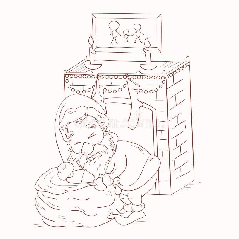 Santa Claus die onderaan de schoorsteen gaan stock illustratie