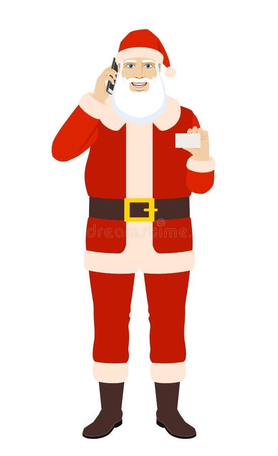 Santa Claus die op de mobiele telefoon spreken en de zaken tonen vector illustratie