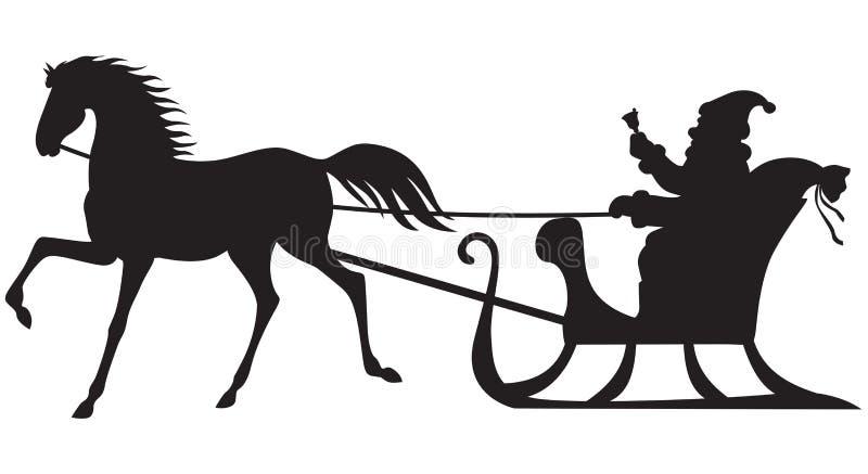 Santa Claus die op een paardar berijdt royalty-vrije illustratie