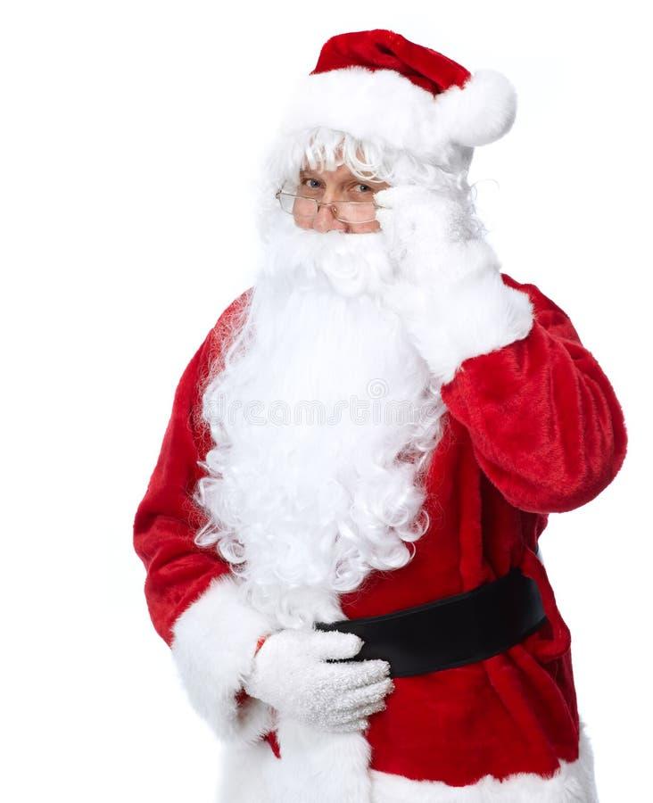 Santa Claus die op wit wordt geïsoleerd. stock afbeeldingen