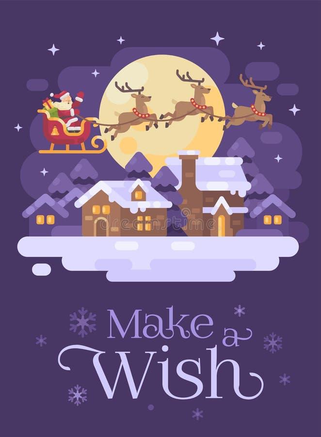 Santa Claus die over het sneeuw het dorpslandschap van de nachtwinter vliegen in een ar die door rendier drie wordt getrokken Ker stock illustratie