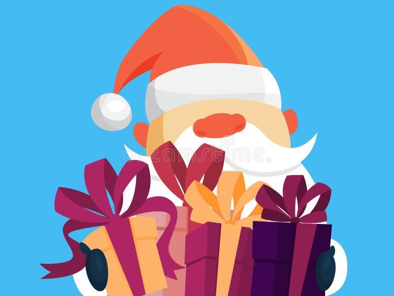 Santa Claus die in rode kleren stapel van giften houden vector illustratie