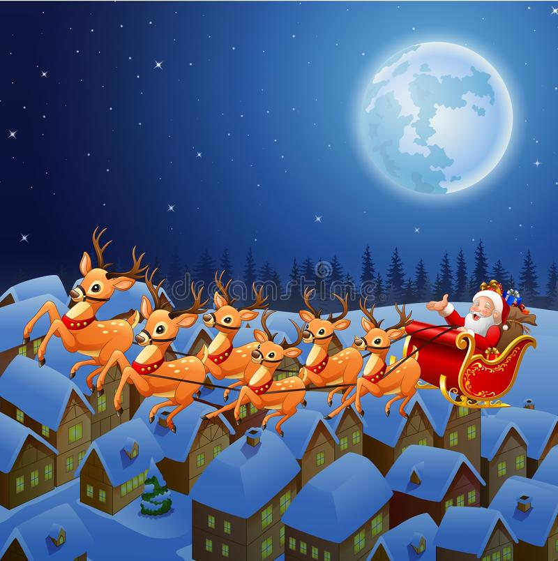 Santa Claus, die sein Renpferdeschlittenfliegen im Himmel reitet vektor abbildung