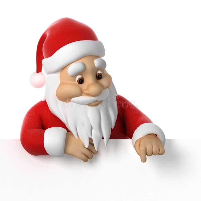 Santa Claus, die unten zeigt stock abbildung