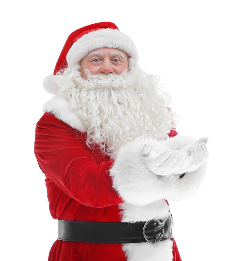 Download Santa Claus Die Zich Op Achtergrond Bevinden Stock Afbeelding - Afbeelding bestaande uit bejaarden, persoon: 107702973