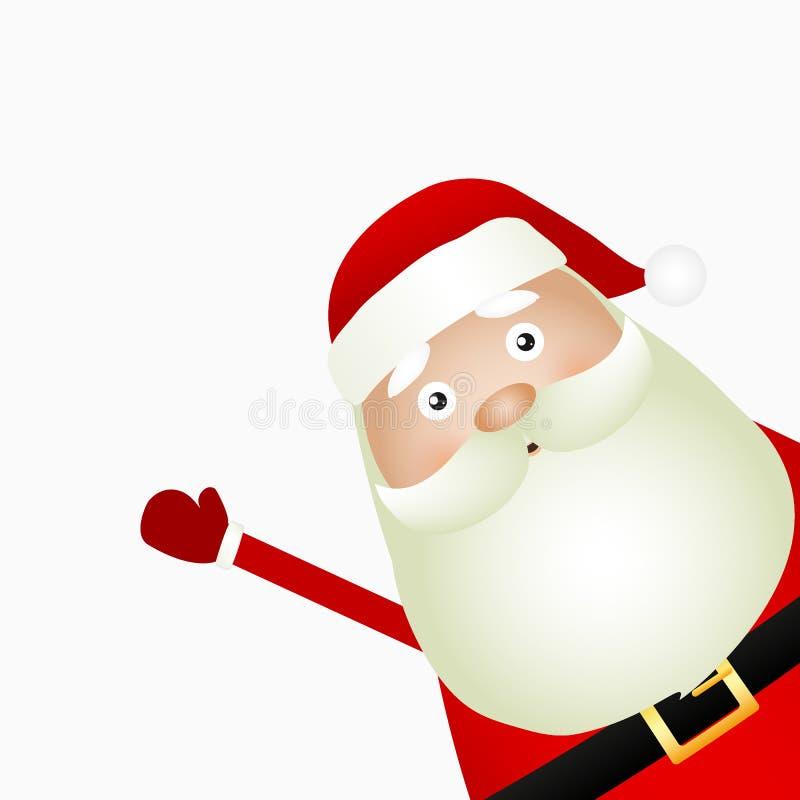 Santa Claus die zich op een witte achtergrond, vector bevinden stock illustratie