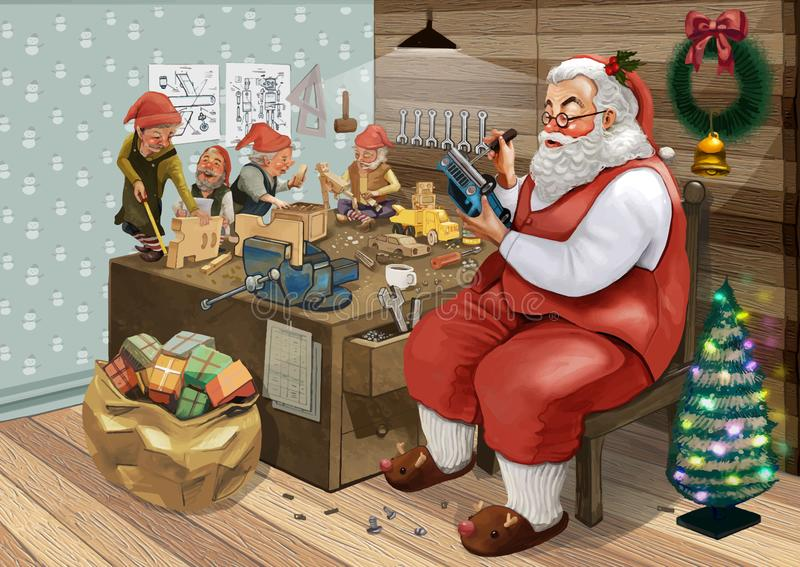 Santa Claus disegnata a mano che fa i regali di Natale con i suoi elfi in un'officina illustrazione vettoriale
