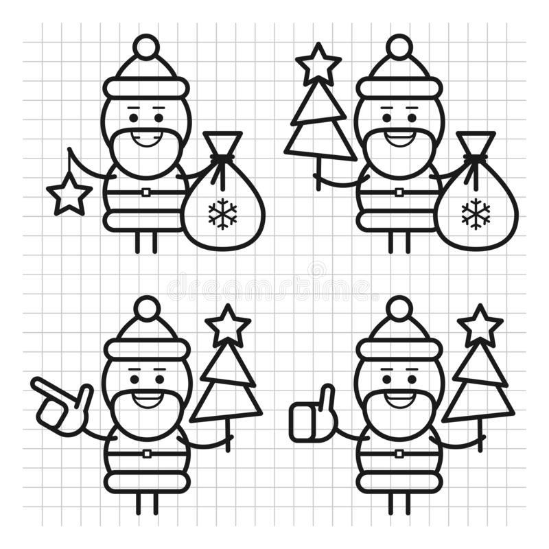 Santa Claus in divers stelt Getrokken lijnen Karakter - reeks Deel 1 Vector illustratie royalty-vrije illustratie