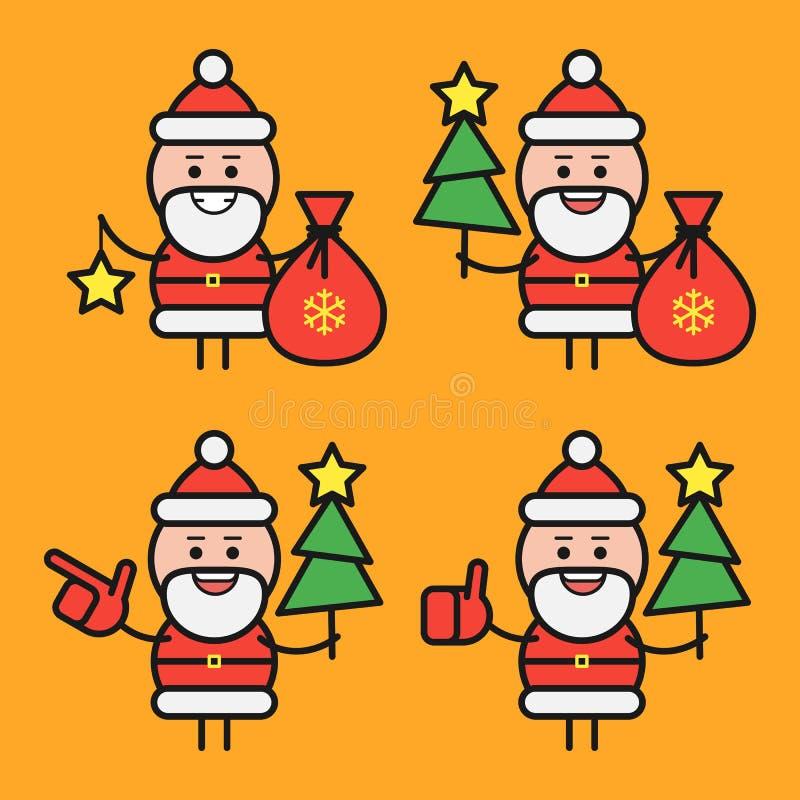 Santa Claus in divers stelt Karakter - reeks Deel 1 Vector illustratie vector illustratie