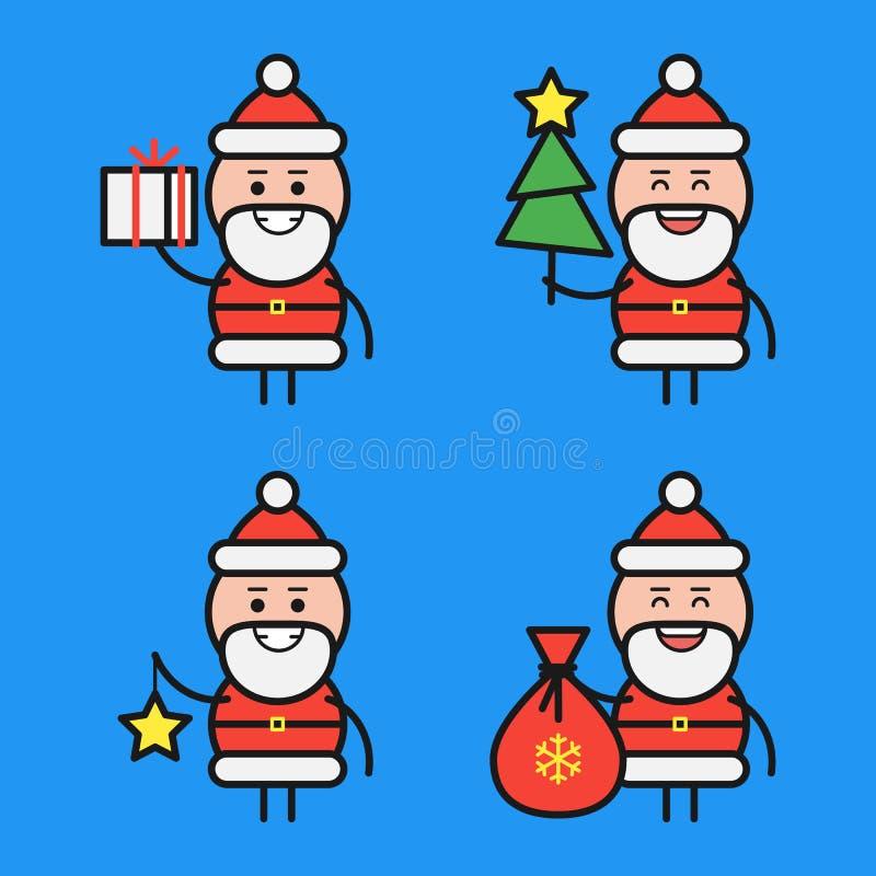 Santa Claus in divers stelt Karakter - reeks Deel 3 Vector illustratie vector illustratie