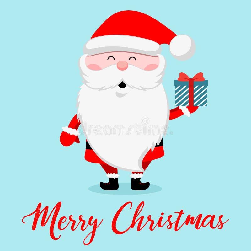 Santa Claus divertente con il contenitore di regalo Cartoline d'auguri di progettazione del nuovo anno e di Natale Illustrazione  illustrazione di stock