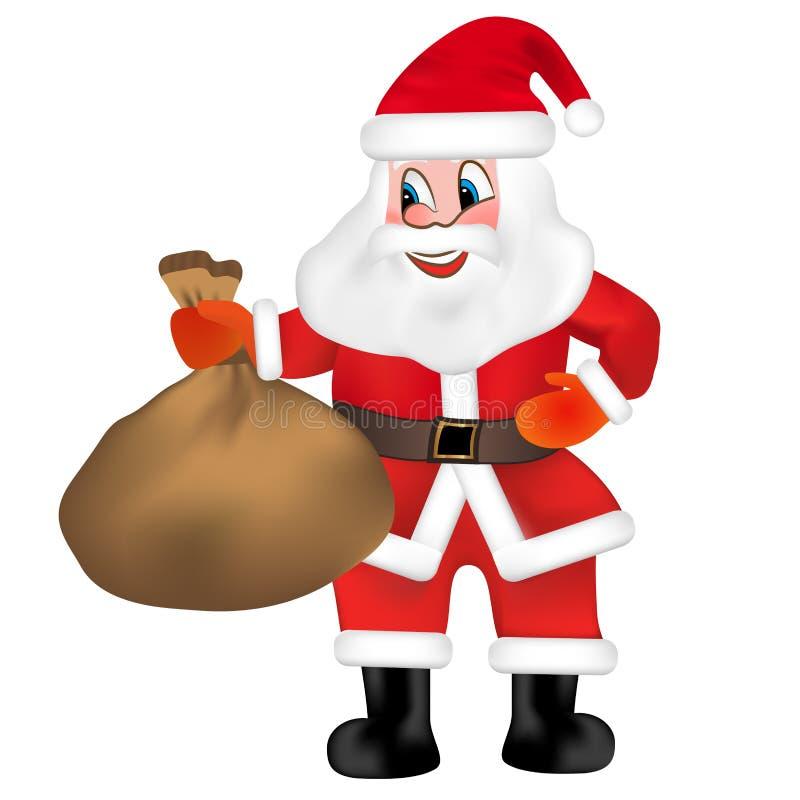 Santa Claus divertente con il sacco in pieno dei regali isolati su fondo bianco Vettore royalty illustrazione gratis